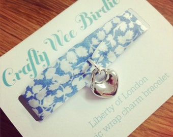 Fabric wrap bracelet Liberty of London fabric wrap bracelet with heart charm