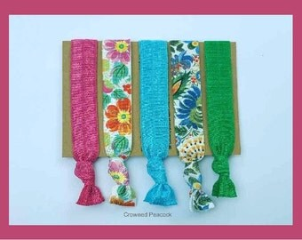 NEW 5pc Hair Ties Set, TROPICAL Floral print, Yoga Bands, Hair Tie, Ponytail Accessory, Beach Wedding, Party Favors, Flowers, Peacock Blue