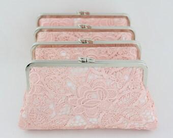 Pink Peony Bridesmaid Clutches / Elegant Bridal Clutches / Luxury Wedding Clutches - Set of 6