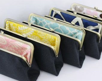Solid Black Bridesmaid Clutches with Various Linings / Black Bridesmaid Clutches / Wedding Purses - Set of 7
