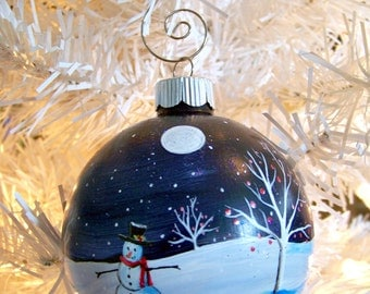"3.25"" Moonlight Snowman Hand Painted Christmas Ornament"