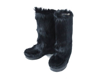 Vintage 70s great black fur wide yeti apres ski boots