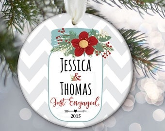"Mason Jar Ornament ""Just Engaged"" or ""Just Married"" Ornament Personalized Christmas Ornament Newlywed Gift Wedding Gift Chevron OR517"