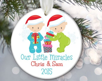 Personalized Twin Baby Ornament, Baby's First Christmas Ornament, Twin boy or girl Newborn Gift Our Little Miracles OR598