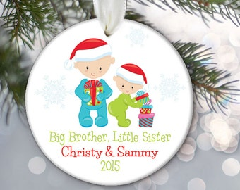 Big Brother Ornament, Big Sister Ornament Family Ornament, Personalized Christmas Ornament First Christmas Ornament, Little New Baby OR600