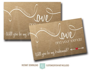 """Bridesmaid Ask Card """"All You Need is Love""""- Rustic Style- Customization NOT Included"""