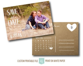 Save the Date with Photo- Printable Wedding Invite- Calendar Save the Date- Rustic Wedding Invite- Digital File