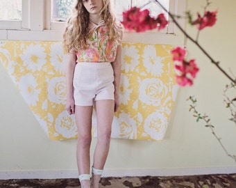 High Waisted Shorts/Vintage Shorts/Checkered Shorts/Pink/White/70s
