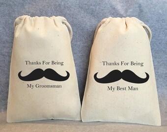 """Best Man Gift, Groomsmen, Groomsman Gift bags, Set of 4- 1 Best Man, 3 Groomsman, 9""""x12"""""""
