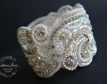 Rhinestone Cuff Lace Bracelet - pearl crystal embellished- wedding cuff - bridal accessories