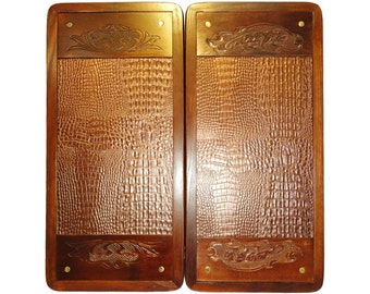 Handmade Carved Wooden Backgammon Board Game Set Crocodile Skin Pattern