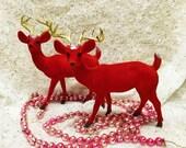 Reserved for Jamy Red Flocked Reindeer Pair Vintage Christmas