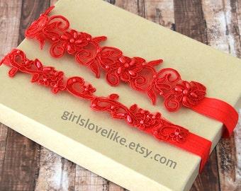 Red Beaded  Lace Wedding Garter Set, Red Bridal Garter, Keesake Garter, Toss Garter, GT-21