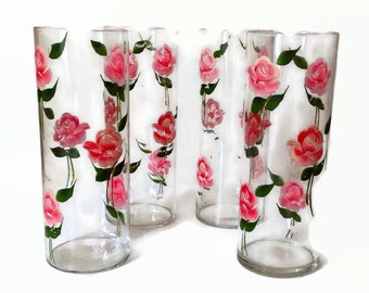 Vintage Drinking Glasses Cottage Chic Handpainted Pink Roses Tall Narrow Matching Vases Wedding Shower Vintage Kitchen