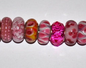 Lot of High Quality Handcrafted Fun Murano European Beads in Pinks