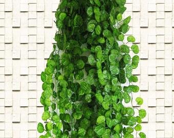 Artificial Ivy Garland Hanging Plants Vine Fake Foliage 12 Strings Green Ivy Leaf Garland For DIY Door Wreath Outdoor Wedding Home Decor
