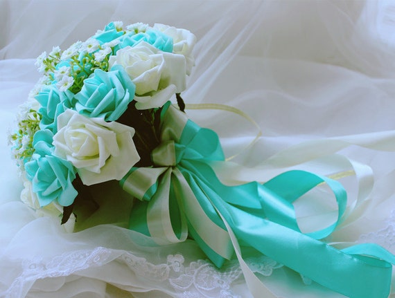 Turquoise Green White Wedding Bouquet Flowers Bridal Centerpieces DecorationsSilk Ribbon Fake Flower Bouquets