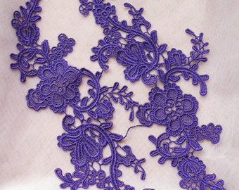 purple lace applique by pairs, venice lace applique