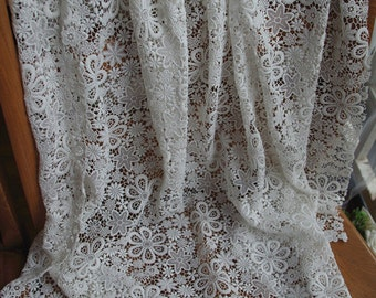 off white Lace Fabric,crochet Lace Fabric with flowers, delicate lace fabric