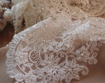 ivory pearl beaded lace trim, sequinedccord lace trim, bridal lace trim, beading floral lace, scalloped lace