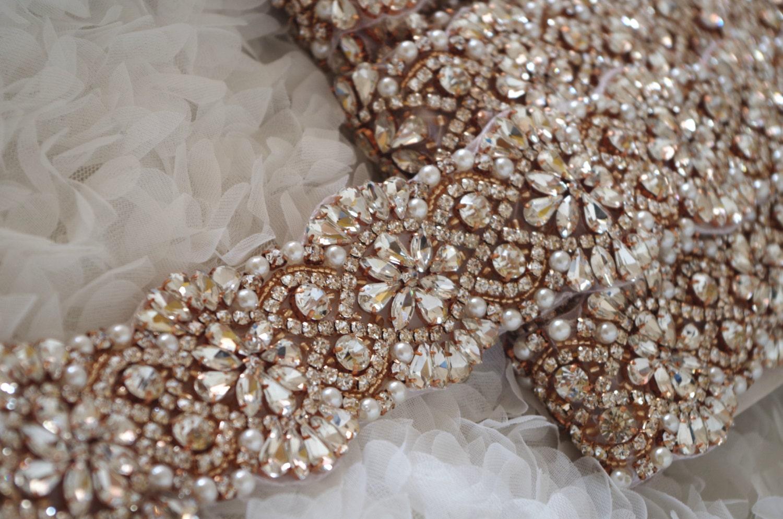 Rose Gold Rhinestone Sash Belt Trim Pearl Crystal Bead Trim