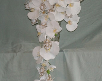White Phalaenopsis Orchid and Jeweled Cascade Bridal Bouquet