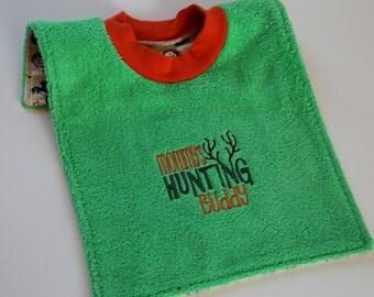 Waterproof Towel Bib - Mommy's Hunting Buddy bib - Camouflage or Forest Friends PUL on back - Over the Head Bib