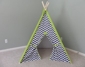 """Kids Play Tent Navy Childrens Teepee Chevron Tent 44"""" base size with chartreuse accents Kids Teepee Play Fort  Play Teepee Theteepeeguy"""