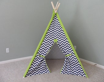 "Kids Play Tent Navy Childrens Teepee Chevron Tent 44"" base size with chartreuse accents Kids Teepee Play Fort  Play Teepee"