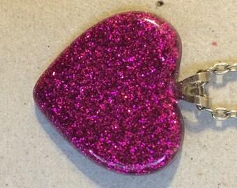 Pink Glitter Resin Heart Pendant