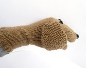 Puppy Dog Hand Puppet Hand Knit Light Brown Sock Puppet for Adult or Child Birthday Gift Present Toy Pretend Play