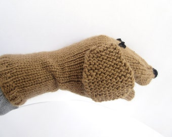 Puppy Dog Hand Puppet Hand Knit Brown Sock Puppet for Adult or Child Birthday Gift Present Toy Pretend Play
