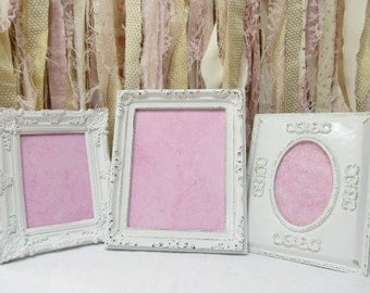 Picture Frame Set Vintage Ornate White Baroque, Wedding frames  Hollywood Regency Baby Nursery, Shabby Chic, Gallery Wall Set Table Desk Top