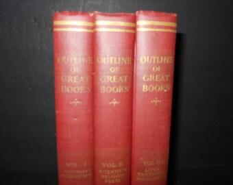 Shabby Vintage Decorative Books Decoration - Outline of Great Books Shabby Vintage Book Decoration -3 Volumes books Decorative Books
