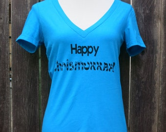 Happy Chrismukkah Women's Vneck Screenprinted Shirt