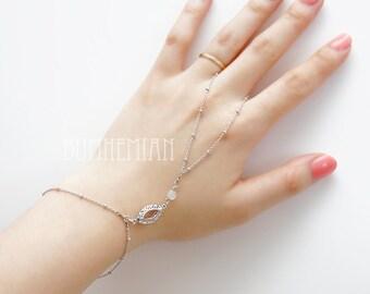 Floral Eyelet Connector + Frosted Round Rondelle, Gypsy bracelet Finger Chain Hand Bracelet Slave Bracelet