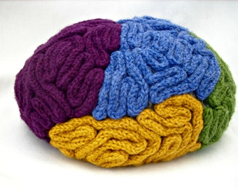 Knit Brain Hat Gray Matter Size Large by tomspecsdiggs on Etsy
