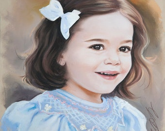 Small size Pastel portrait for a girl