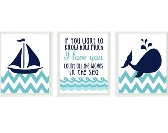 Nautical Nursery Wall Art, If You Want To Know How Much I Love You Count All The Waves In The Sea, Whale Art, Sailboat Art, Gray Aqua, Navy