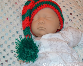 0 - 6 month baby Christmas long tailed crochet elf hat, newborn, photo prop