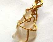 Glass Pendant Wrapped in Gold Wire  Machine Tumbled Glass Jewelry Clear Glass Pendant