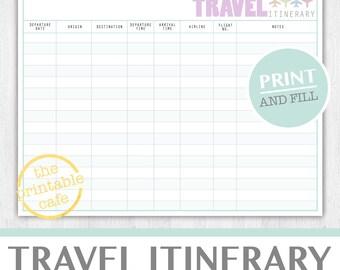 Travel itinerary | Etsy