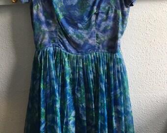 1950s Watercolor Tea Dress/ Blue Chiffon/ Small/ 34-26