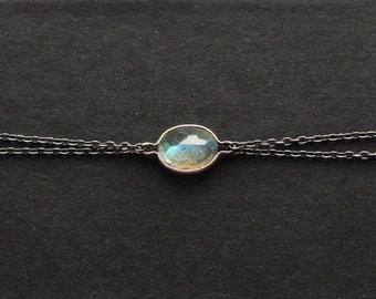 Orion Bracelet - Minimalist, Labradorite and Two Tone Oxidised Black Sterling Silver Bracelet - Blue and Green Flashes