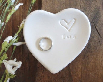 Oma Gift, ring dish,  wedding ring holder, White Matte Heart, handmade earthenware pottery, Gift Boxed, Made to Order