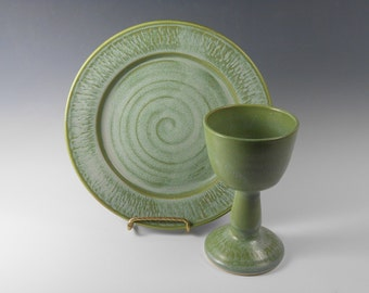 Chalice and paten communion set - chalice and paten set - green communion set - liturgical ware - communion ware  W180