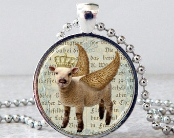 Sheep Pendant, Sheep Necklace, Sheep Jewelry, Sheep with Crown, Sheep with Wings Glass Art Pendant, Spring Jewelry
