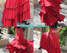 Flamenco clothing.Red flamenco skirt  .Flamenco Skirts. Skirts. Skirt with ruffles.Strapless. Red Skirt
