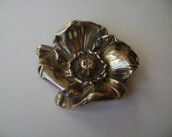 antique William Kerr poppy brooch, sterling