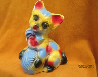 Vintage 1940's Carnival Chalkware Cat Figurine